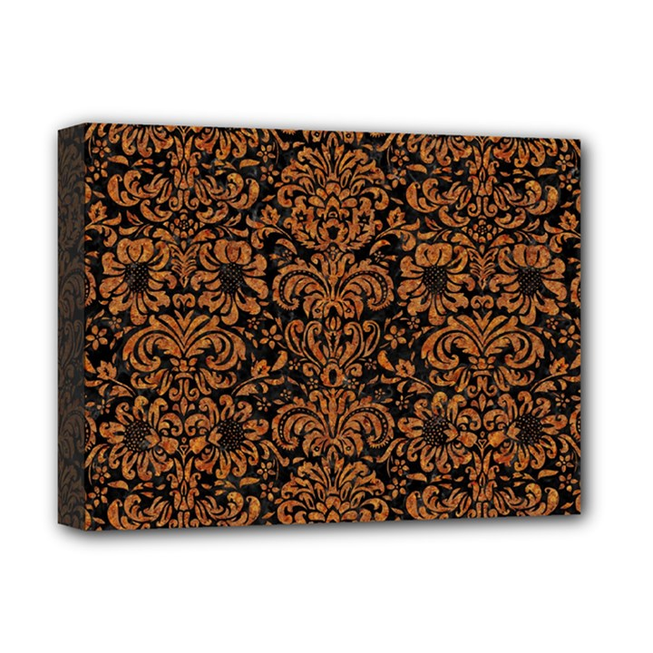 DAMASK2 BLACK MARBLE & RUSTED METAL (R) Deluxe Canvas 16  x 12