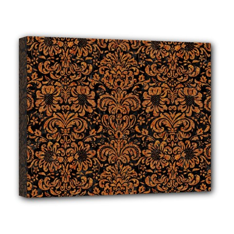 Damask2 Black Marble & Rusted Metal (r) Deluxe Canvas 20  X 16