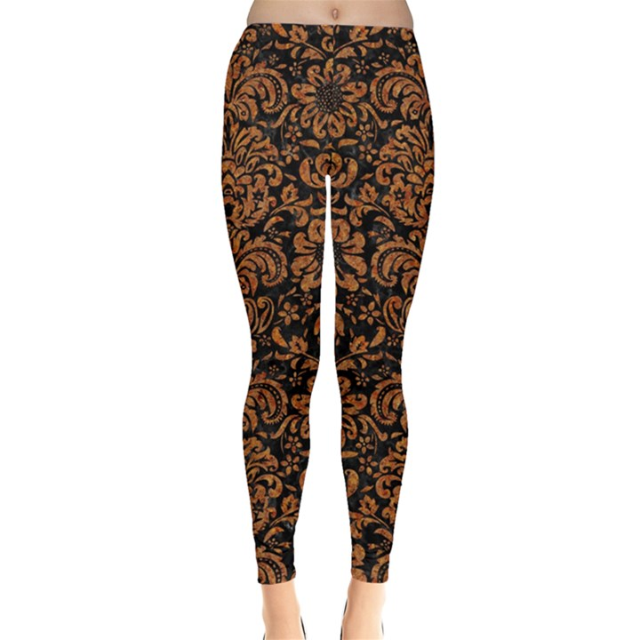 DAMASK2 BLACK MARBLE & RUSTED METAL (R) Leggings