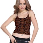 DAMASK2 BLACK MARBLE & RUSTED METAL (R) Spaghetti Strap Bra Top