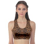 DAMASK2 BLACK MARBLE & RUSTED METAL (R) Sports Bra