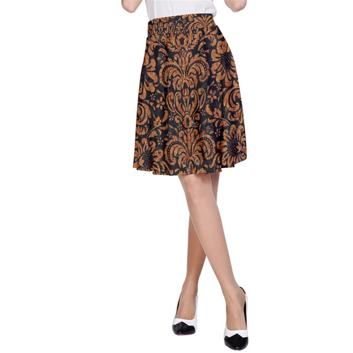 DAMASK2 BLACK MARBLE & RUSTED METAL (R) A-Line Skirt