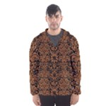 DAMASK2 BLACK MARBLE & RUSTED METAL (R) Hooded Wind Breaker (Men)