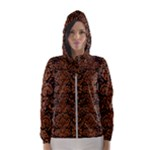 DAMASK2 BLACK MARBLE & RUSTED METAL (R) Hooded Wind Breaker (Women)