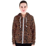 DAMASK2 BLACK MARBLE & RUSTED METAL (R) Women s Zipper Hoodie