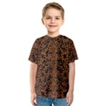 DAMASK2 BLACK MARBLE & RUSTED METAL (R) Kids  Sport Mesh Tee