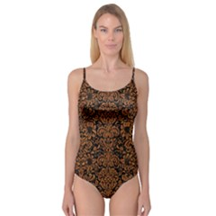 Damask2 Black Marble & Rusted Metal (r) Camisole Leotard