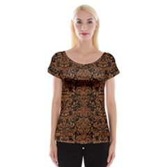 Damask2 Black Marble & Rusted Metal (r) Cap Sleeve Tops