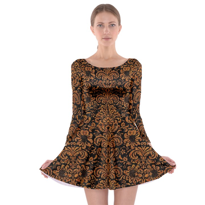 DAMASK2 BLACK MARBLE & RUSTED METAL (R) Long Sleeve Skater Dress