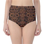 DAMASK2 BLACK MARBLE & RUSTED METAL (R) High-Waist Bikini Bottoms