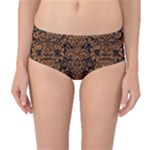 DAMASK2 BLACK MARBLE & RUSTED METAL (R) Mid-Waist Bikini Bottoms