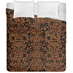 Damask2 Black Marble & Rusted Metal (r) Duvet Cover Double Side (california King Size) by trendistuff