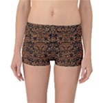 DAMASK2 BLACK MARBLE & RUSTED METAL (R) Reversible Boyleg Bikini Bottoms