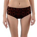 DAMASK2 BLACK MARBLE & RUSTED METAL (R) Reversible Mid-Waist Bikini Bottoms
