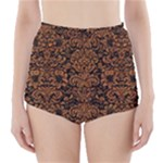 DAMASK2 BLACK MARBLE & RUSTED METAL (R) High-Waisted Bikini Bottoms