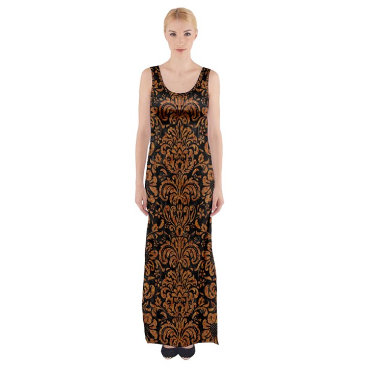 DAMASK2 BLACK MARBLE & RUSTED METAL (R) Maxi Thigh Split Dress