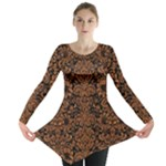 DAMASK2 BLACK MARBLE & RUSTED METAL (R) Long Sleeve Tunic