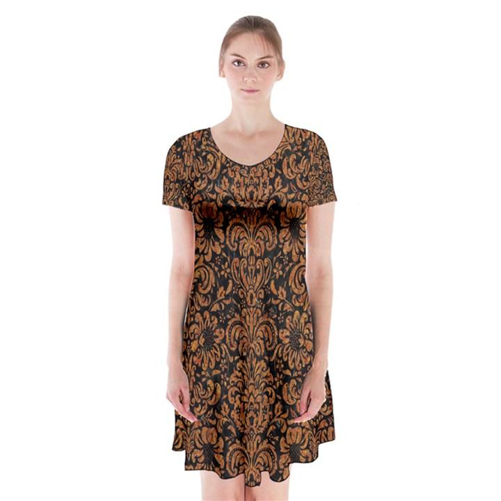 DAMASK2 BLACK MARBLE & RUSTED METAL (R) Short Sleeve V-neck Flare Dress