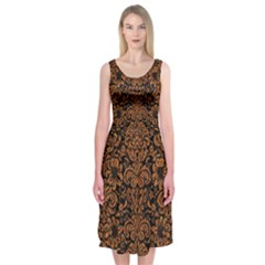 Damask2 Black Marble & Rusted Metal (r) Midi Sleeveless Dress