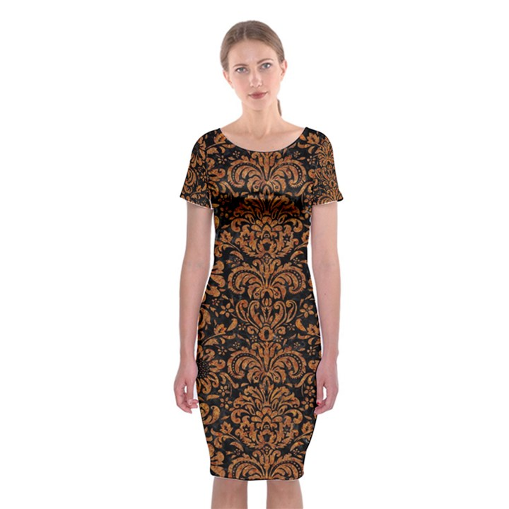 DAMASK2 BLACK MARBLE & RUSTED METAL (R) Classic Short Sleeve Midi Dress