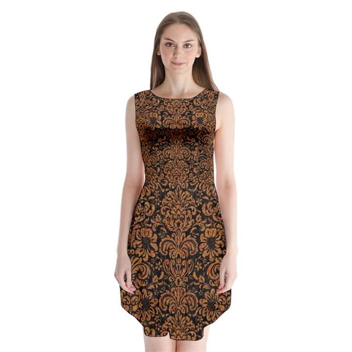 DAMASK2 BLACK MARBLE & RUSTED METAL (R) Sleeveless Chiffon Dress