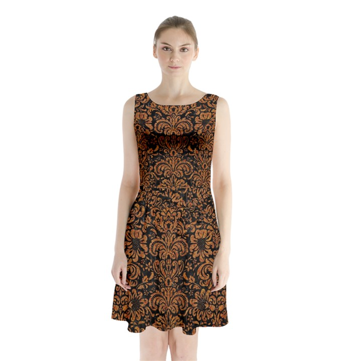DAMASK2 BLACK MARBLE & RUSTED METAL (R) Sleeveless Waist Tie Chiffon Dress