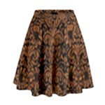 DAMASK2 BLACK MARBLE & RUSTED METAL (R) High Waist Skirt