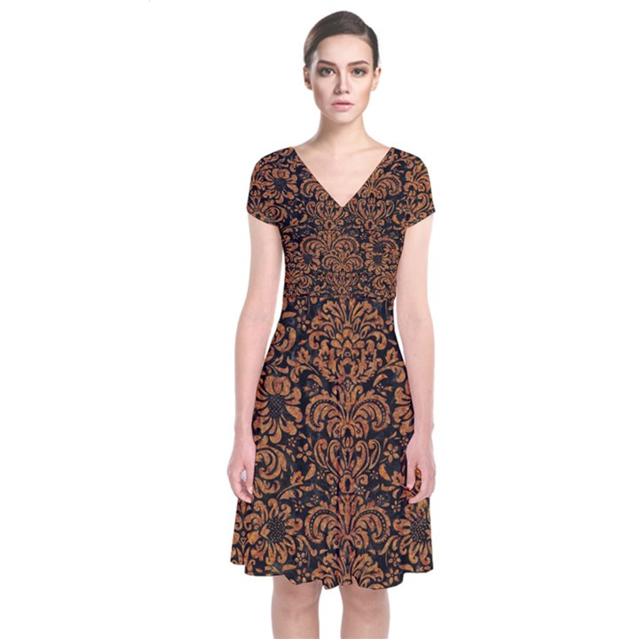 DAMASK2 BLACK MARBLE & RUSTED METAL (R) Short Sleeve Front Wrap Dress