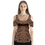 DAMASK2 BLACK MARBLE & RUSTED METAL (R) Butterfly Sleeve Cutout Tee