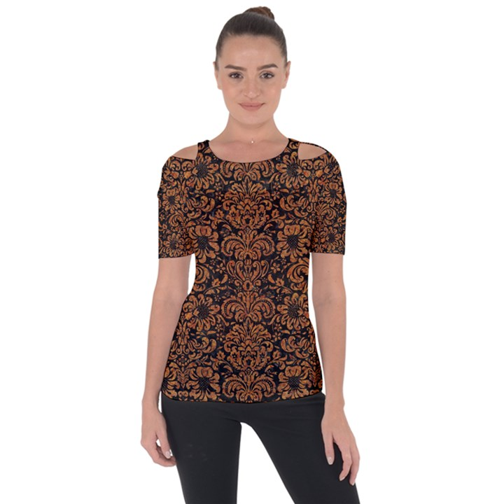 DAMASK2 BLACK MARBLE & RUSTED METAL (R) Short Sleeve Top
