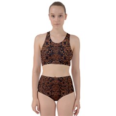 Damask2 Black Marble & Rusted Metal (r) Racer Back Bikini Set