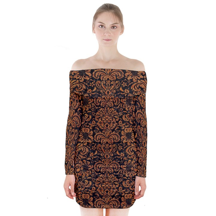 DAMASK2 BLACK MARBLE & RUSTED METAL (R) Long Sleeve Off Shoulder Dress