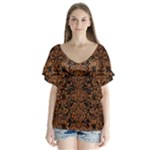 DAMASK2 BLACK MARBLE & RUSTED METAL (R) V-Neck Flutter Sleeve Top
