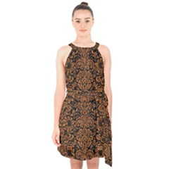 Damask2 Black Marble & Rusted Metal (r) Halter Collar Waist Tie Chiffon Dress