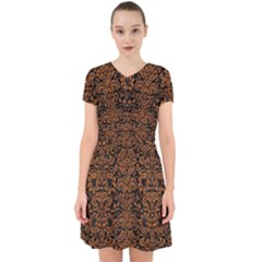 Damask2 Black Marble & Rusted Metal (r) Adorable In Chiffon Dress