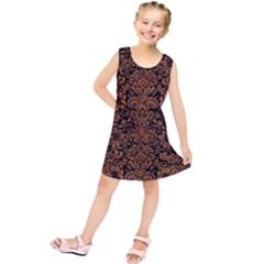 Damask2 Black Marble & Rusted Metal (r) Kids  Tunic Dress