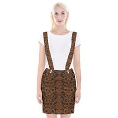 Damask2 Black Marble & Rusted Metal (r) Braces Suspender Skirt
