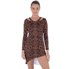 Damask2 Black Marble & Rusted Metal (r) Asymmetric Cut Out Shift Dress