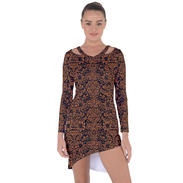 DAMASK2 BLACK MARBLE & RUSTED METAL (R) Asymmetric Cut-Out Shift Dress