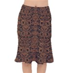 DAMASK2 BLACK MARBLE & RUSTED METAL (R) Mermaid Skirt