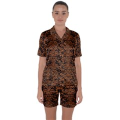 Damask2 Black Marble & Rusted Metal (r) Satin Short Sleeve Pyjamas Set