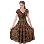 DAMASK2 BLACK MARBLE & RUSTED METAL (R) Cap Sleeve Wrap Front Dress