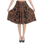 DAMASK2 BLACK MARBLE & RUSTED METAL (R) Flared Midi Skirt