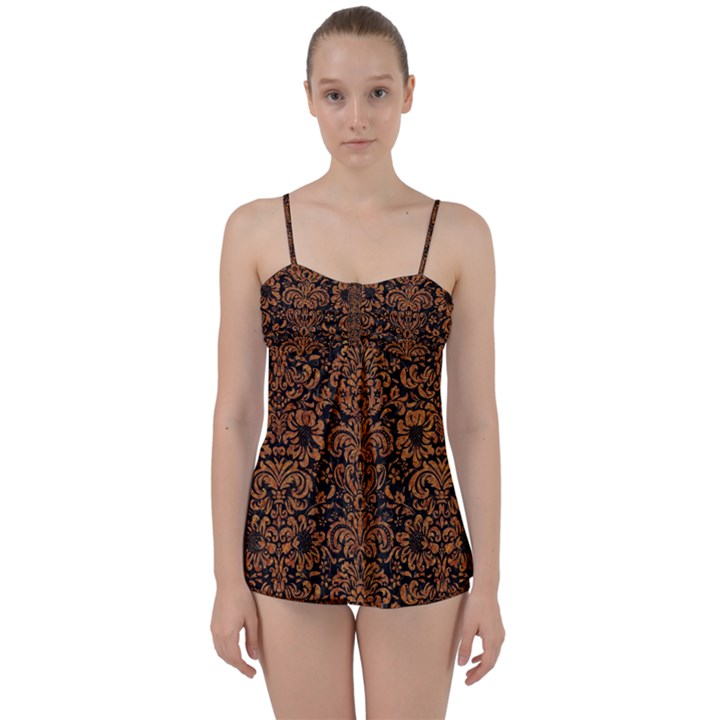 DAMASK2 BLACK MARBLE & RUSTED METAL (R) Babydoll Tankini Set