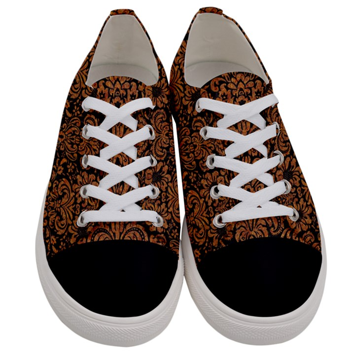 DAMASK2 BLACK MARBLE & RUSTED METAL (R) Women s Low Top Canvas Sneakers