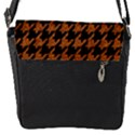 HOUNDSTOOTH1 BLACK MARBLE & RUSTED METAL Flap Messenger Bag (S) View1