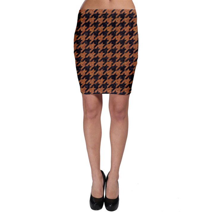 HOUNDSTOOTH1 BLACK MARBLE & RUSTED METAL Bodycon Skirt