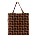 HOUNDSTOOTH1 BLACK MARBLE & RUSTED METAL Grocery Tote Bag View1
