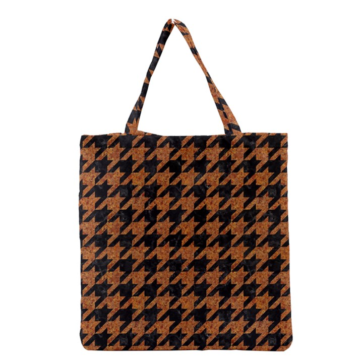 HOUNDSTOOTH1 BLACK MARBLE & RUSTED METAL Grocery Tote Bag