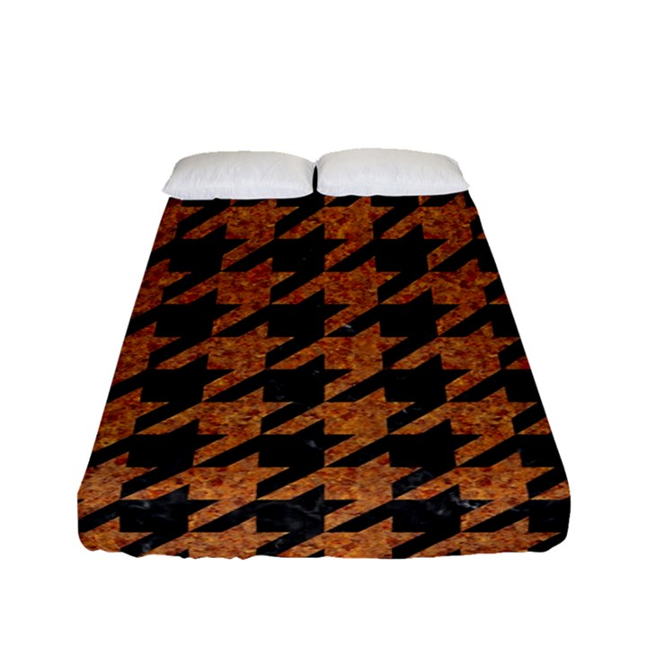 HOUNDSTOOTH1 BLACK MARBLE & RUSTED METAL Fitted Sheet (Full/ Double Size)